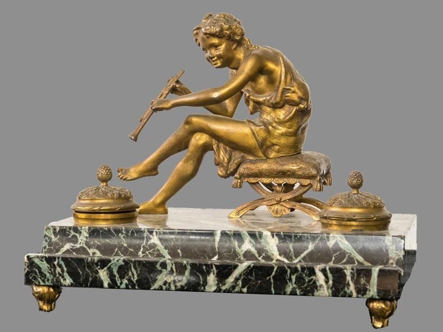 Calamaio marmo bronzo